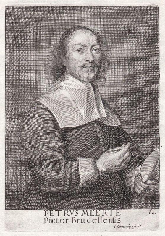 Petrus Meerte - Pieter Meert Maler painter Portrait Kupferstich copper engraving antique print