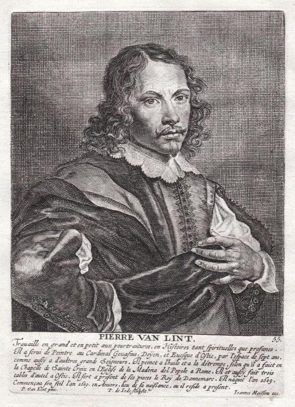 Pierre van Lint - Pieter van Lint Maler painter Portrait Kupferstich copper engraving antique print