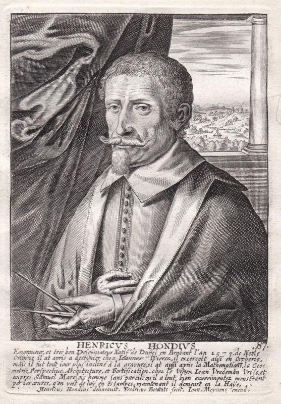 Henricus Hondius - Henricus Hondius Maler painter Portrait Kupferstich copper engraving antique print
