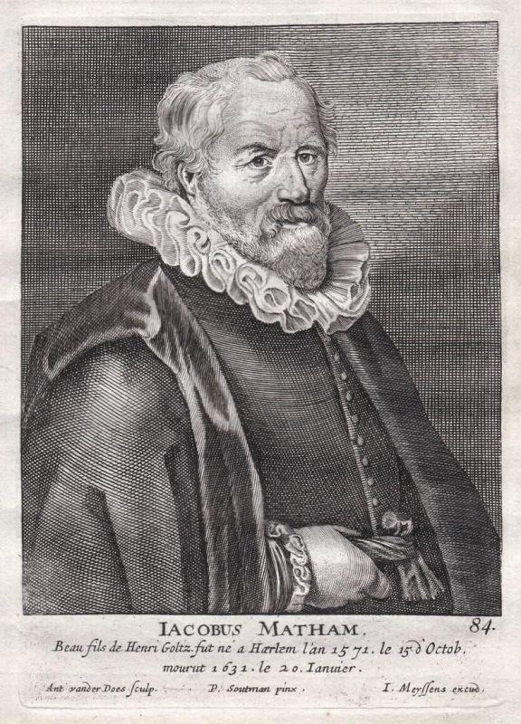 Iacobus Matham - Jakob Matham Maler painter Portrait Kupferstich copper engraving antique print