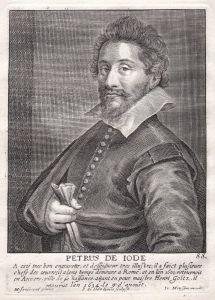 Petrus de Iode - Pieter de Jode der Ältere Maler painter Portrait Kupferstich copper engraving antique print