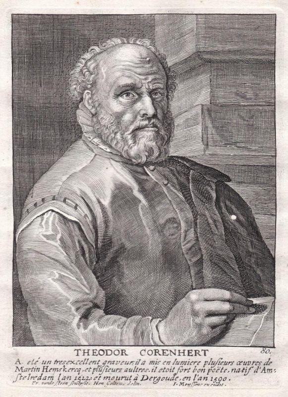 Theodor Corenhert - Dirck Volkertszoon Coornhert Maler painter Portrait Kupferstich copper engraving antique p 0