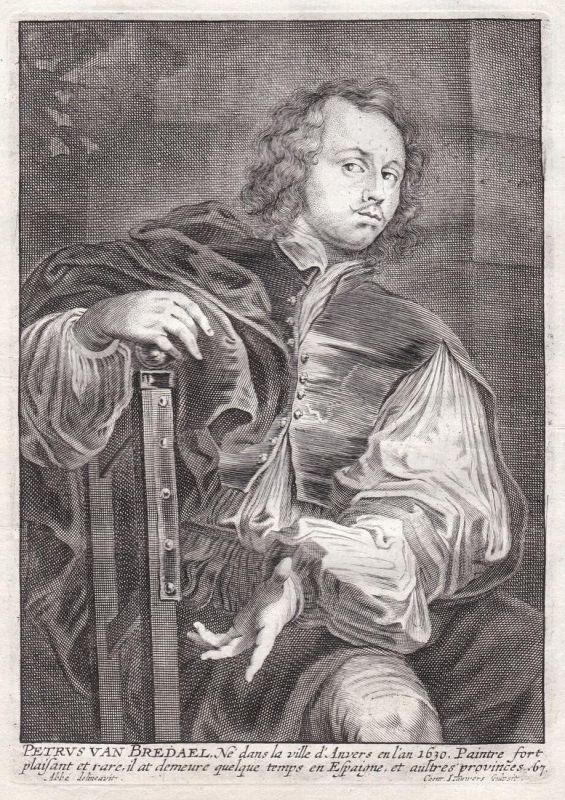 Petrus van Bredael - Pieter van Bredael Maler painter Portrait Kupferstich copper engraving antique print 0