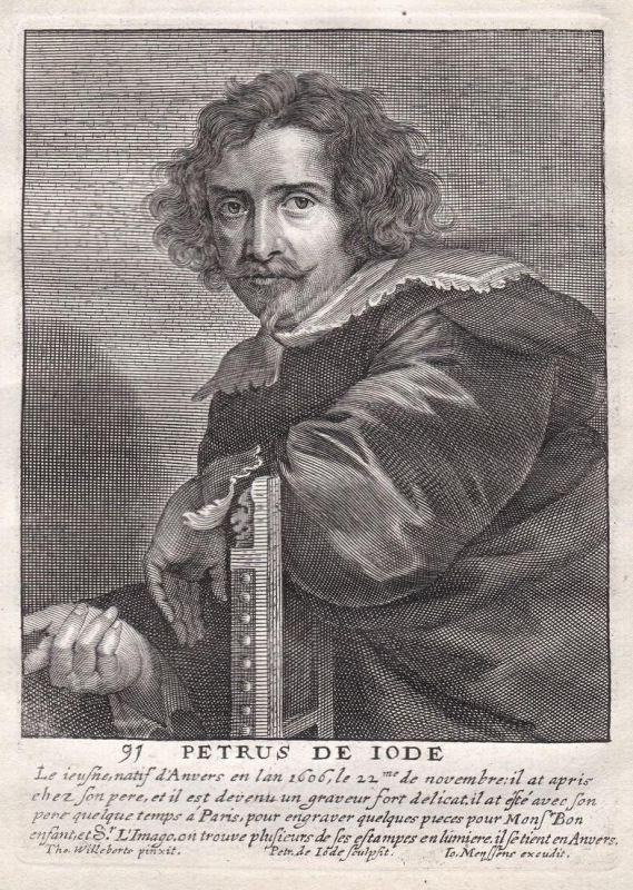 Petrus de Iode - Pieter de Jode Kupferstecher copper engraver Portrait Kupferstich engraving antique print 0