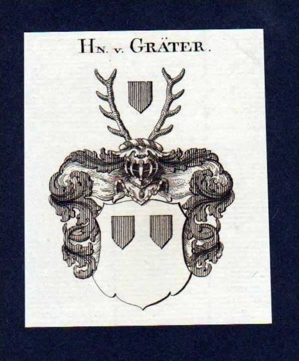 Herren von Gräter Original Kupferstich Wappen engraving Heraldik crest 0