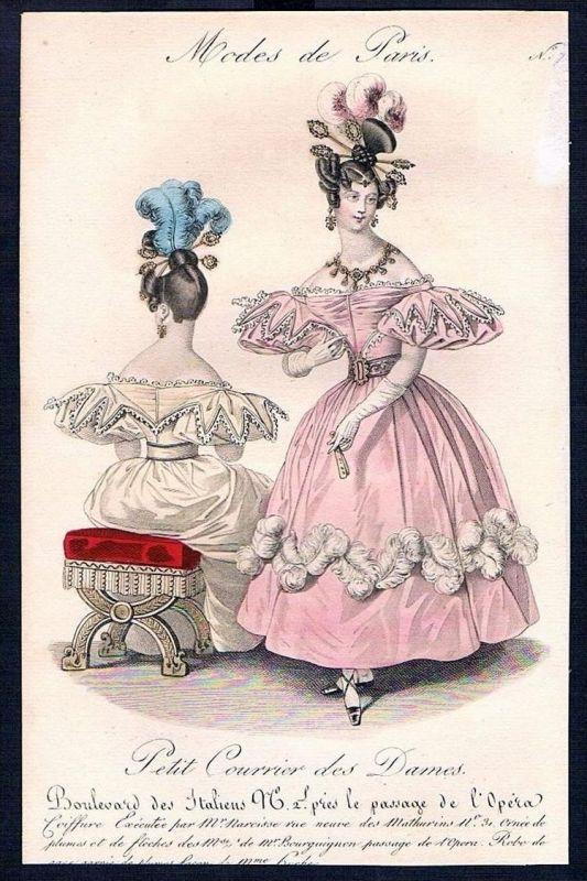 Biedermeier Mode Kupferstich victorian fashion antique print Paris etching 0