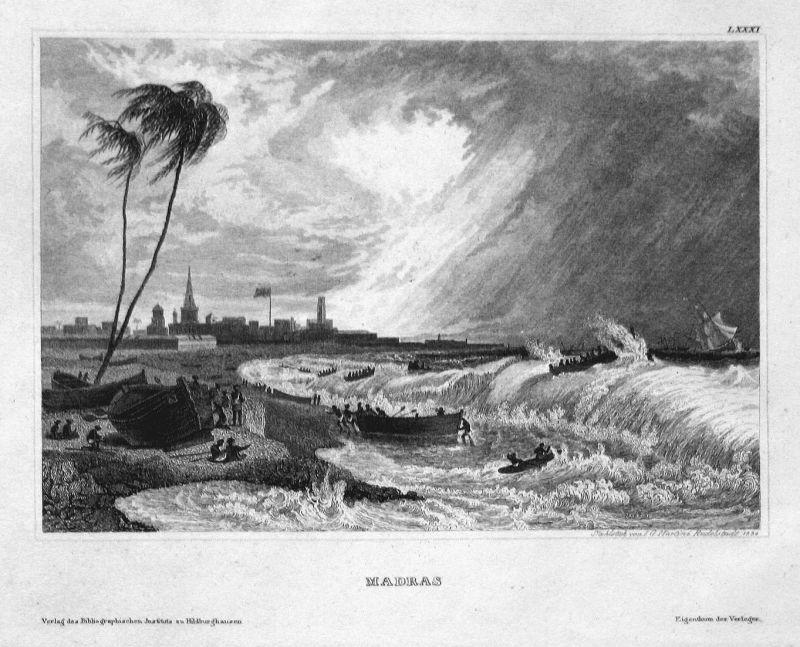 Madras - Chennai Madras Indien India Asien Asia Ansicht view Stahlstich steel engraving antique print