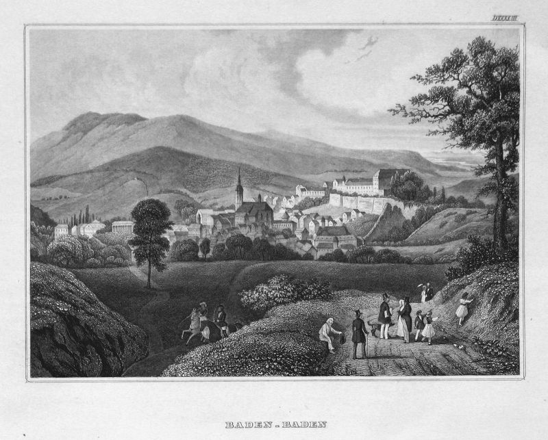 Baden-Baden - Baden-Baden Baden-Württemberg Deutschland Germany Ansicht view Stahlstich steel engraving antiqu