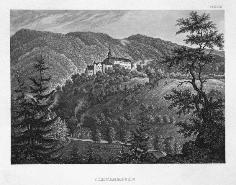 Schwarzburg - Schwarzburg Thüringen Deutschland Germany Ansicht view Stahlstich steel engraving antique print