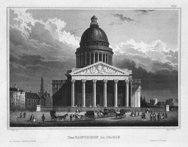 Das Pantheon in Paris - Panthéon Paris Frankreich France Gebäude Ansicht view Stahlstich steel engraving antiq