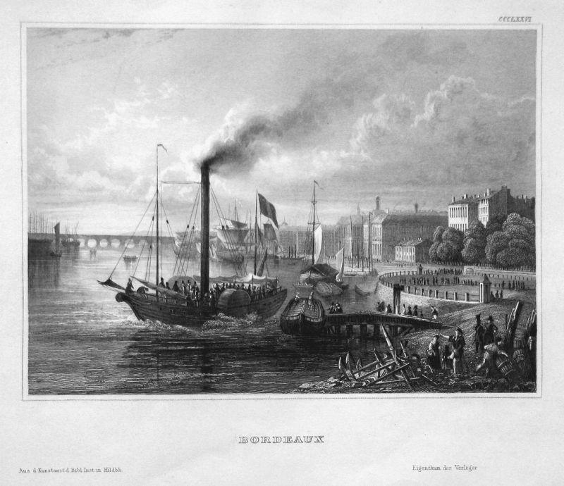 Bordeaux - Bordeaux Frankreich France Ansicht view Stahlstich steel engraving antique print