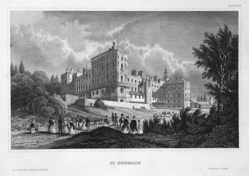 St. Germain - Chateau De Saint Germain En Laye Paris Frankreich France Ansicht view Stahlstich steel engraving