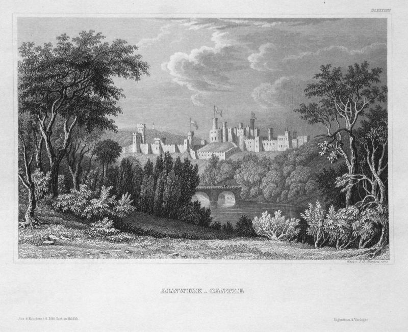 Alnwick-Castle - Alnwick Castle England Schloss castle Ansicht view Stahlstich steel engraving antique print