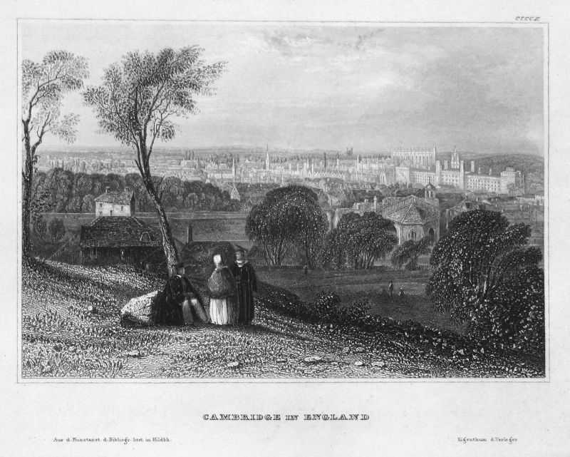 Cambridge in England - Cambridge England Großbritannien Great Britain Ansicht view Stahlstich steel engraving