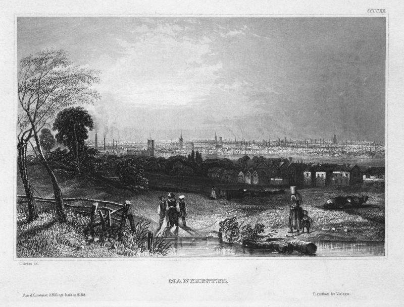 Manchester - Manchester England Großbritannien Great Britain Ansicht view Stahlstich steel engraving antique p
