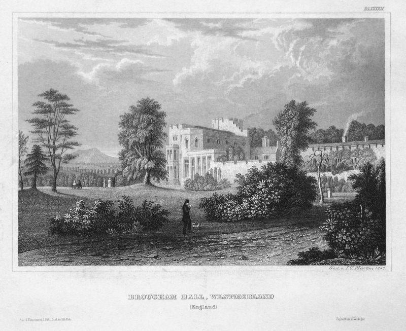 Brougham Hall, Westmorland (England) - Brougham Hall England Westmorland Ansicht view Stahlstich steel engravi