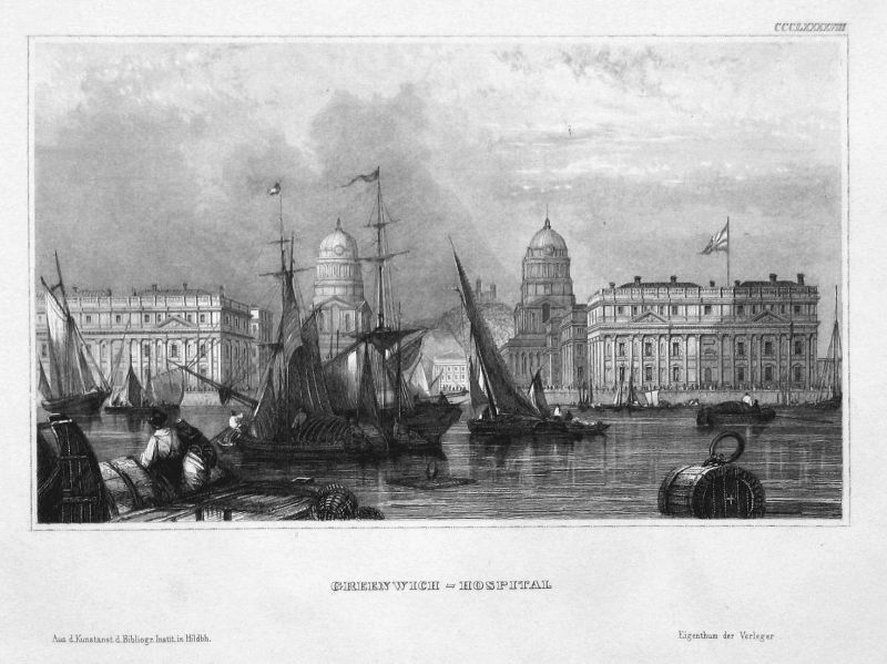 Greenwich-Hospital - Greenwich Hospital London England Ansicht view Stahlstich steel engraving antique print
