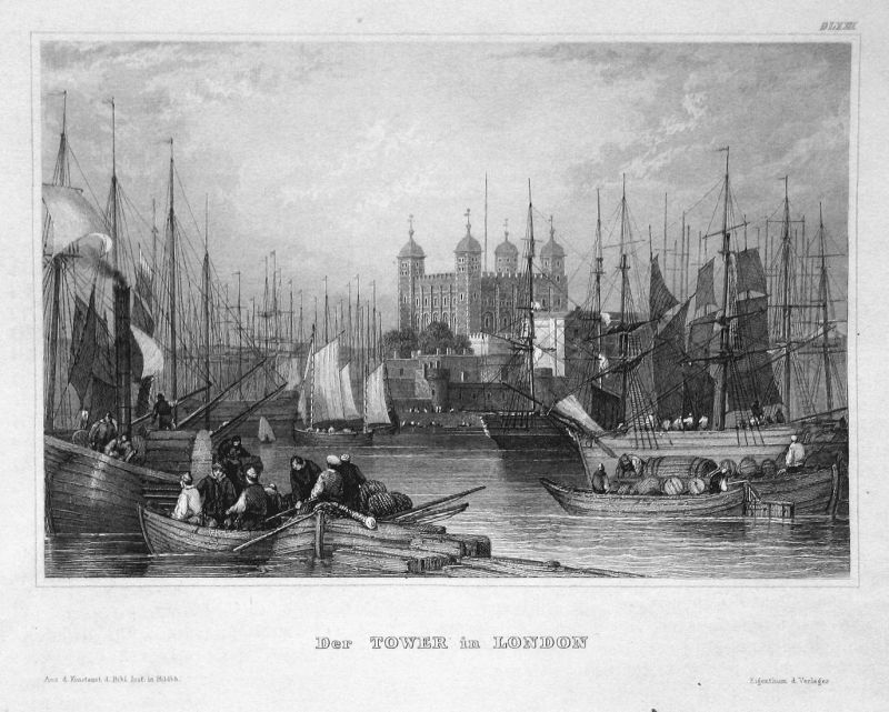 Der Tower in London - London tower Burg castle England Ansicht view Stahlstich steel engraving antique print