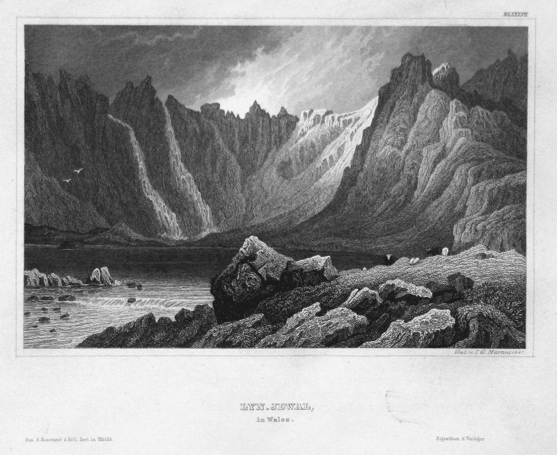 Lyn-Idwal, in Wales - Llyn Idwal Wales Großbritannien Great Britain Ansicht view Stahlstich steel engraving an