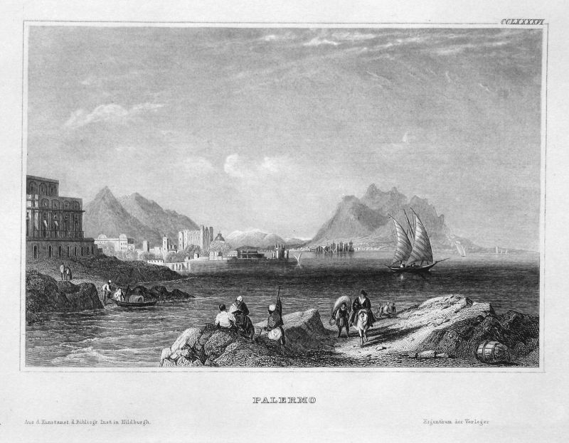 Palermo - Palermo Italien Italia Italy Sizilien Sicily Ansicht view Stahlstich steel engraving antique print