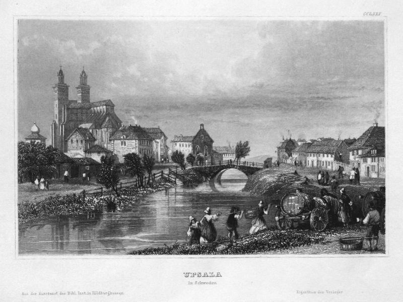 Upsala in Schweden - Uppsala Schweden Sverige Sweden Ansicht view Stahlstich steel engraving antique print