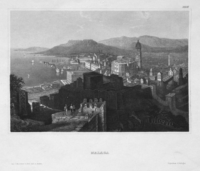 Malaga - Málaga Spanien Espana Spain Andalusien Ansicht view Stahlstich steel engraving antique print