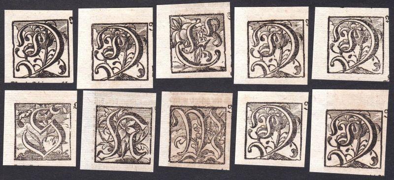 Konvolut von 10 Ornament Kupferstich-Buchstaben ornament letters antique print gravure copper engraving