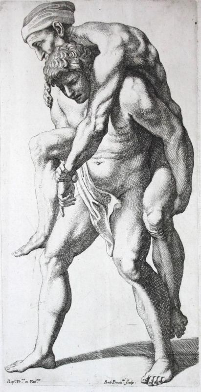 Äneas trägt Anchises // Aeneas carrying Anchises on his back - Aeneid Radierung etching stampa antique print