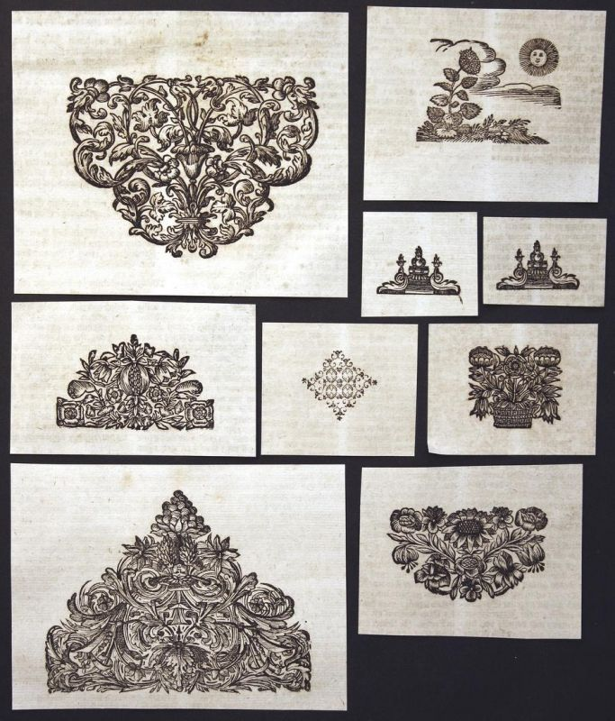 Konvolut von 9 Ornamenten Holzschnitt woodcut ornament antique print gravure copper engraving