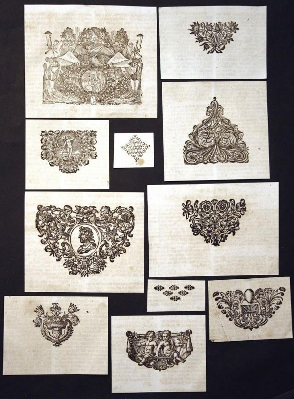 Konvolut von 11 Ornamenten Holzschnitt woodcut ornament antique print gravure copper engraving