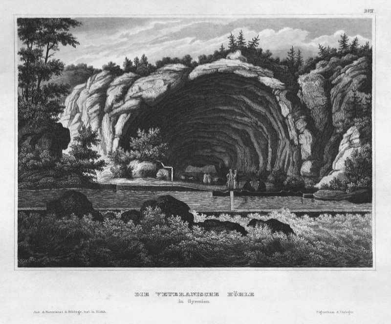 Die Veteranische Höhle in Syrmien - Syrmien Veteranische Höhle Serbien Serbia Ansicht view Stahlstich steel en