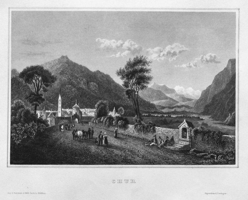 Chur - Chur Schweiz Suisse Svizzera Graubünden Ansicht view Stahlstich steel engraving antique print