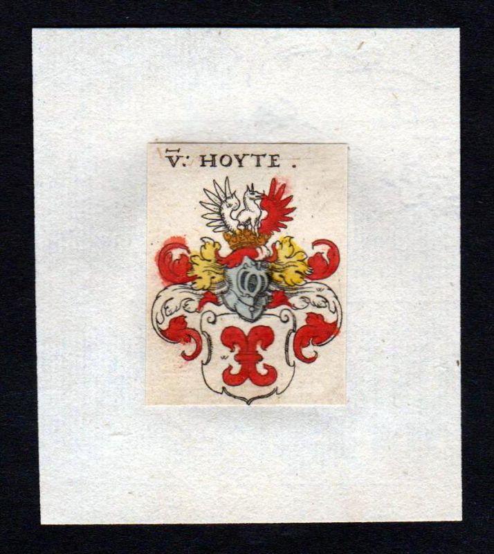 17. Jh von Hoyte Wappen coat of arms heraldry Heraldik Kupferstich