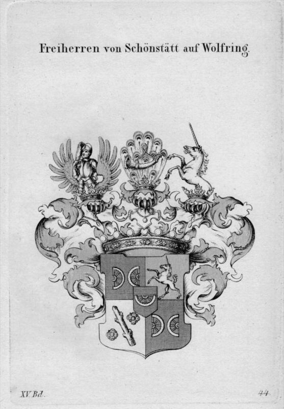 Schönstätt Wolfring Wappen Adel coat of arms heraldry Heraldik Kupferstich