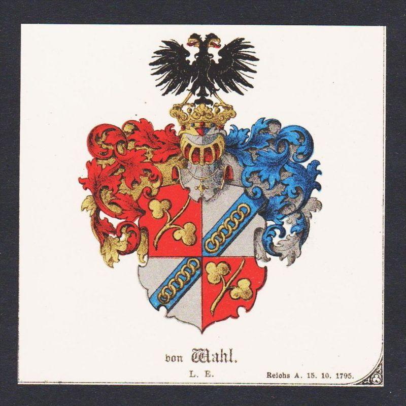 . von Wahl Wappen Heraldik coat of arms heraldry Litho
