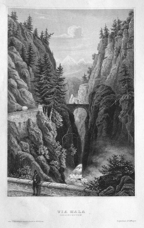 Via Mala (Graubünden) - Viamala Zillis-Reischen Schwiez Svizzera Suisse Ansicht view Stahlstich steel engravin