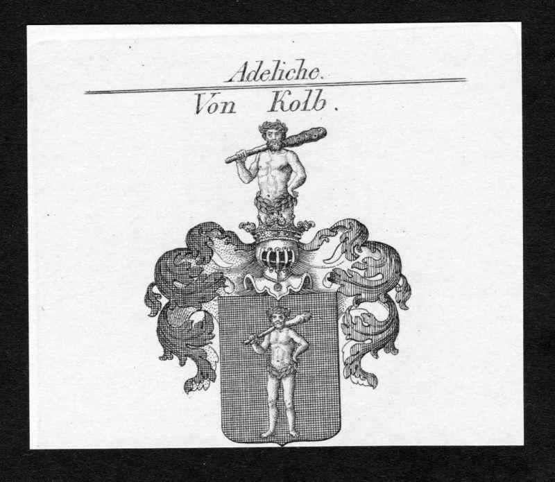 Von Kolb - Karl Kolb Aachen Wappen Adel coat of arms heraldry Heraldik Kupferstich engraving