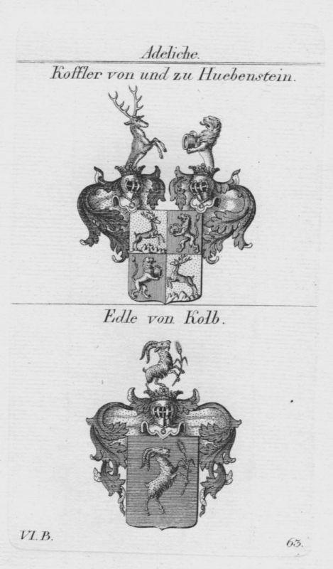 Koffler Huebenstein Kolb Wappen Adel coat of arms heraldry Kupferstich