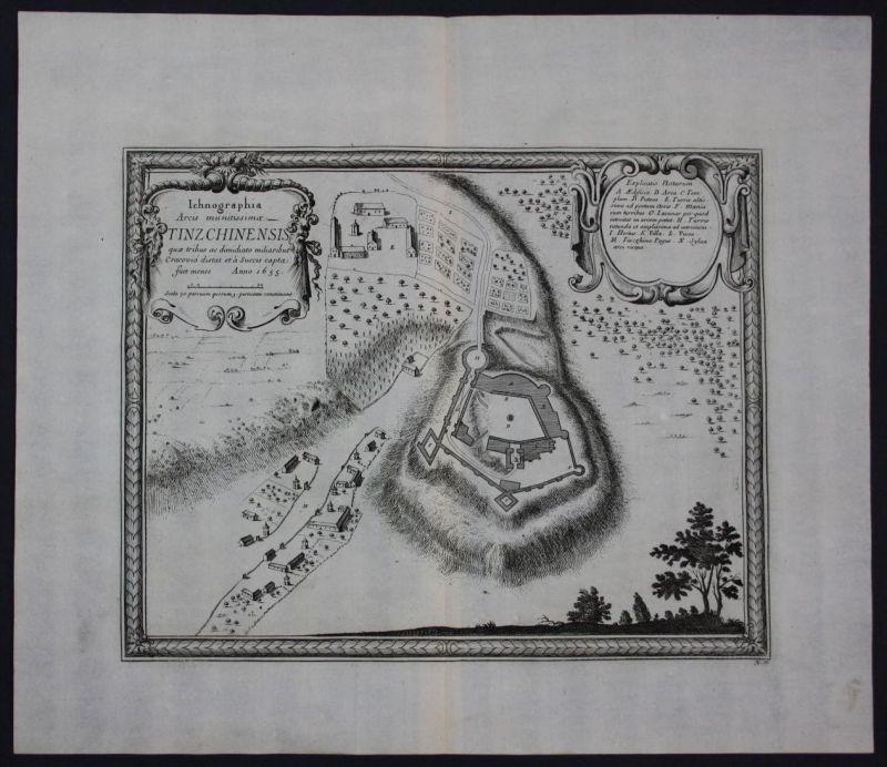 Tenczyn Lubien Myslenice Poland Polska Polen map antique Pufendorf
