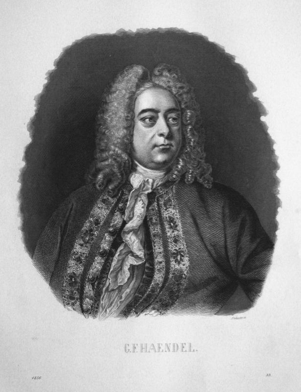 G. F. Haendel - Georg Friedrich Händel Portrait Komponist composer Stahlstich steel engraving antique print