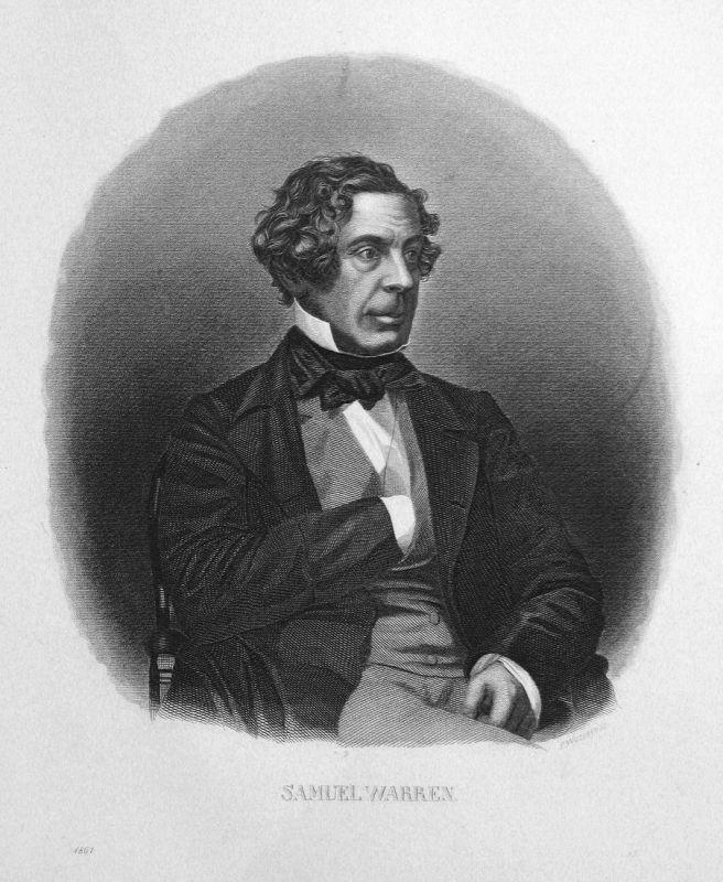 Samuel Warren - Samuel Warren Schriftsteller writer Portrait Stahlstich steel engraving antique print