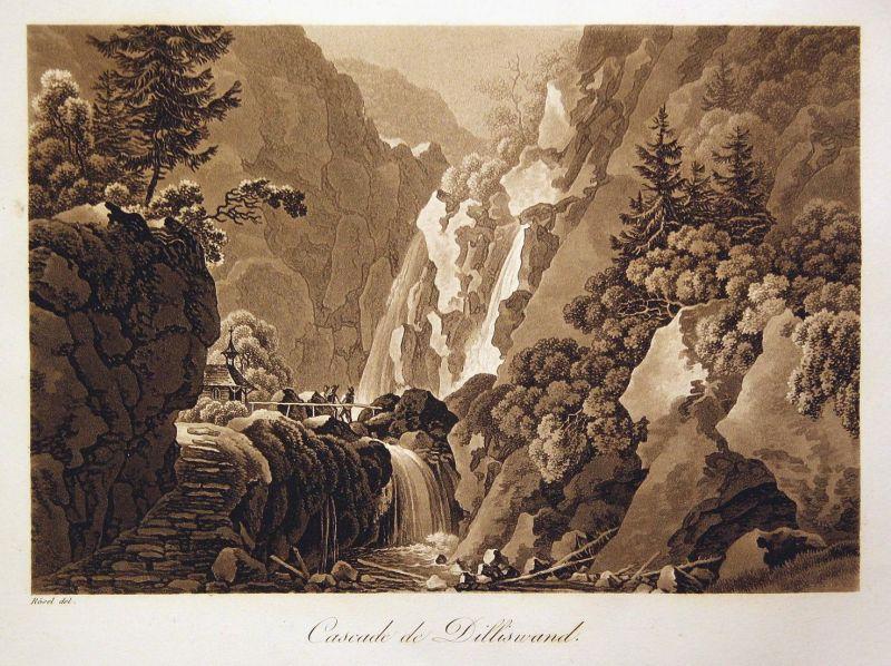 Cascade de Dilliswand - Dillis Wand Schönau am Königssee Bayern Ansicht view Sepia Aquatinta aquatint antique