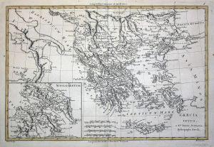Graecia Vetus - Greece Griechenland Crete Kreta Karte map Kupferstich engraving antique print
