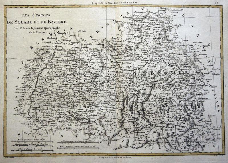 Les Cercles de Souabe et de Baviere - Bayern Bavaria Schwaben Swabia Baden-Württemberg Karte map Kupferstich c