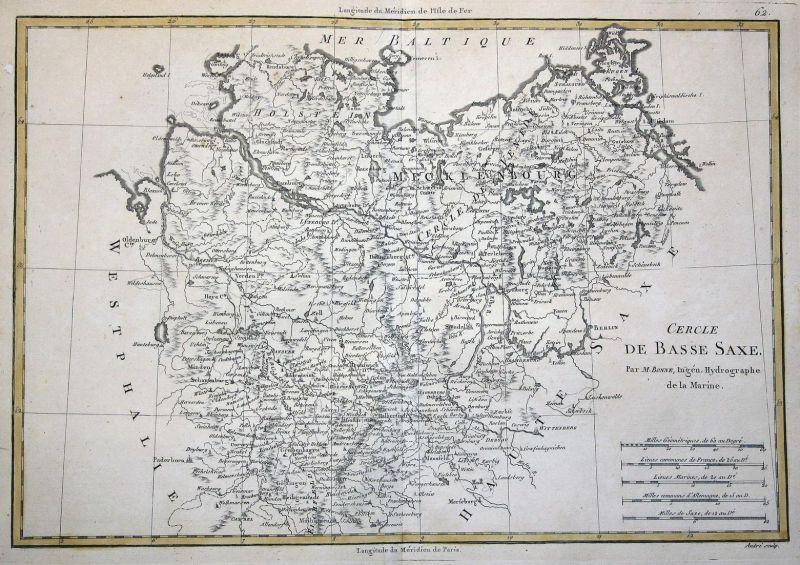 Cercle de Basse Saxe - Deutschland Niedersachsen Saxony Sachsen Germany Karte map Kupferstich copper engraving