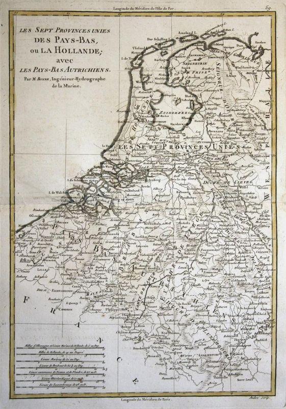 Les Sept Provinces Unies des Pays-Bas, ou la Hollande, avec les Pays-Bas Autrichiens - Niederlande Netherlands