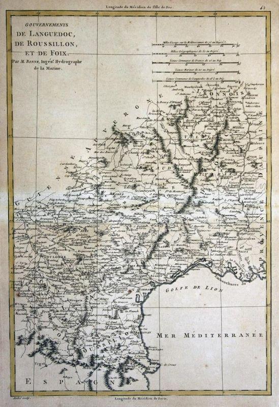 Gouvernements de Languedoc, de Roussillon, et de Foix - France Frankreich Languedoc Foix Roussillon Karte map