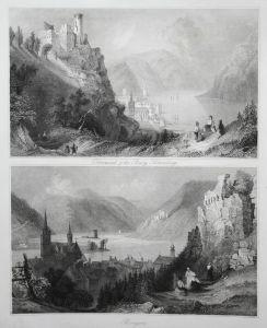 Oberwesel & die Burg Schönberg / Bingen - Oberwesel Burg Schönberg Bingen am Rhein Rheinland-Pfalz Ansicht vie