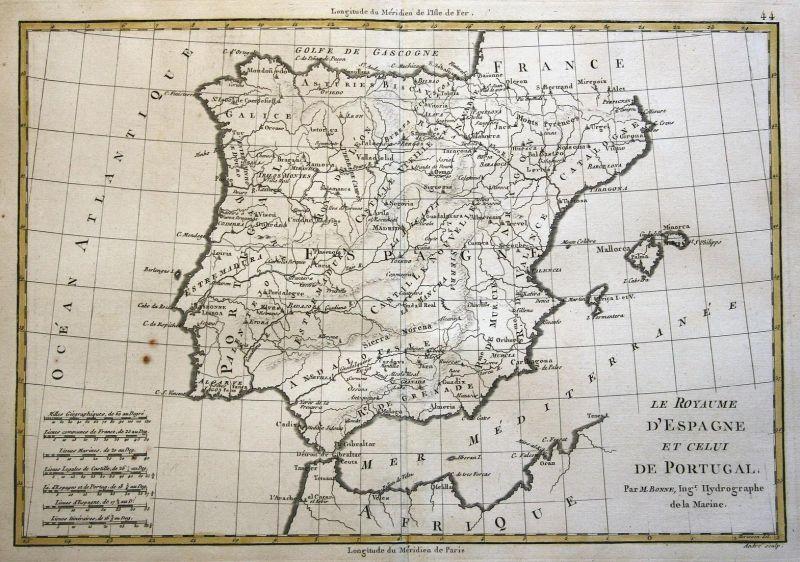 Le Royaume d'Espagne et Celui de Portugal - Spain Portugal Spanien Espana Karte map Kupferstich copper engravi