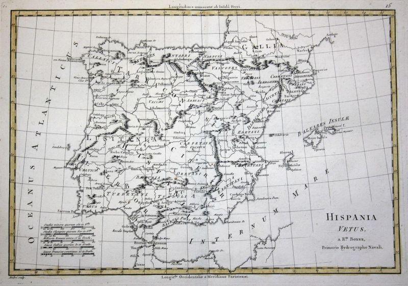 Hispania Vetus - Spain Espana Spanien Portugal Karte map Kupferstich copper engraving antique print